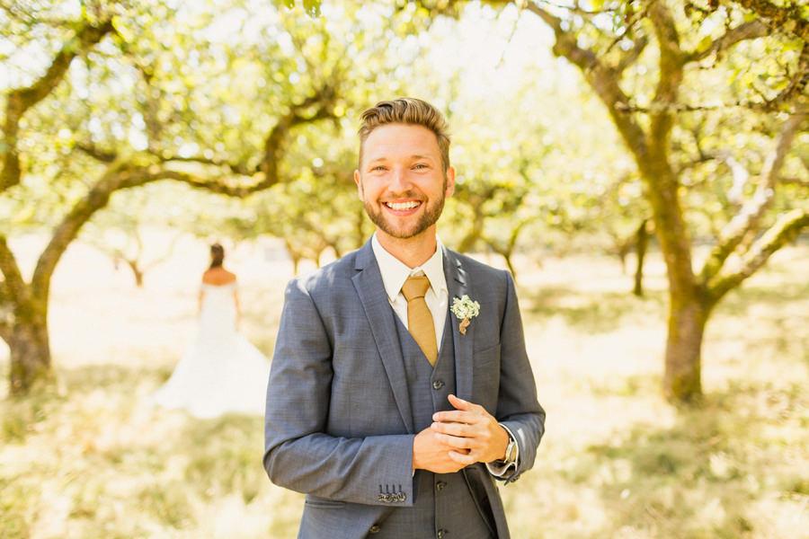 Matt before the first look - Victoria Farm Wedding Photographer