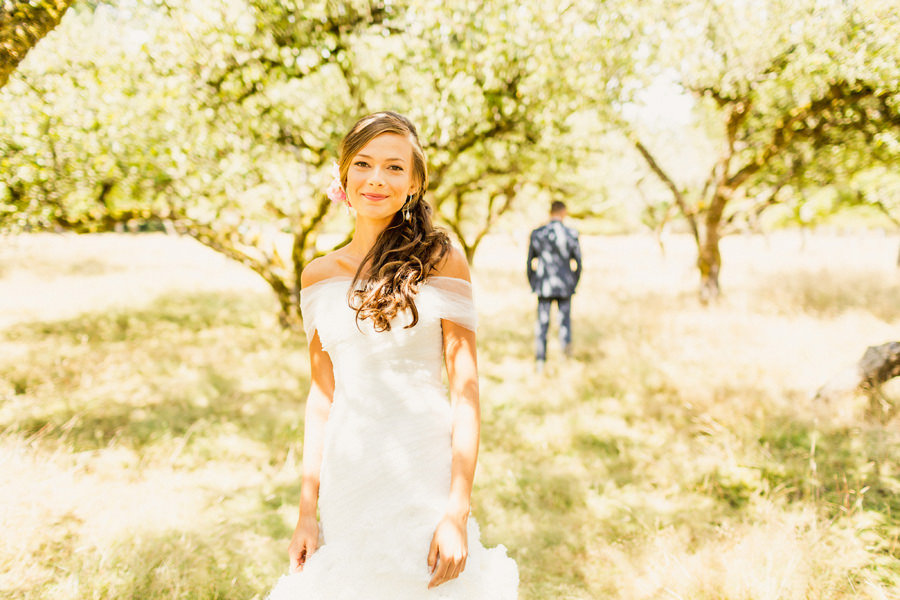 Kristine first look - Victoria Farm Wedding Photographer