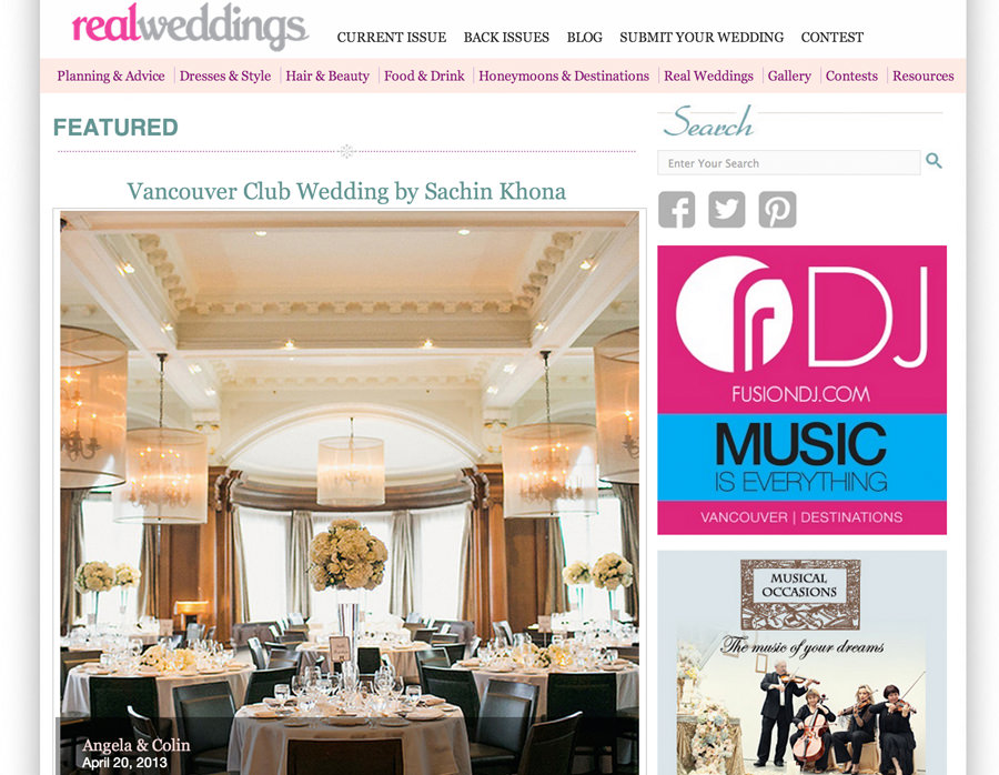 Featured on Real Weddings Canada