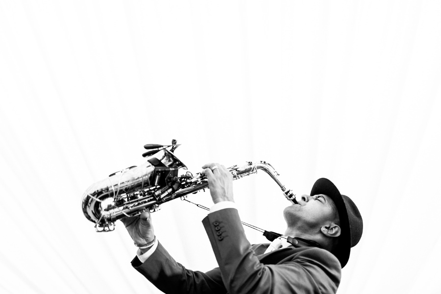 Saxophonist performs during wedding