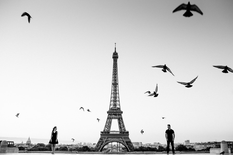 Eiffel Tower Engagement Session with birds