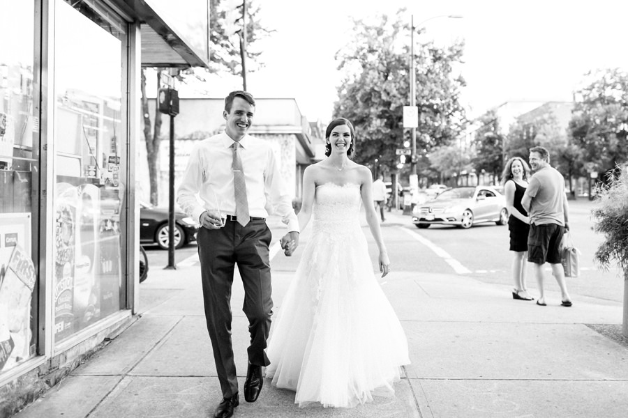 Bride and Groom walking down Main Street Vancouver