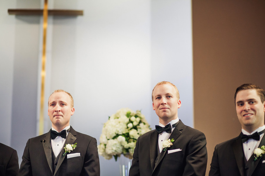 Groom tears up on seeing the bride enter the church