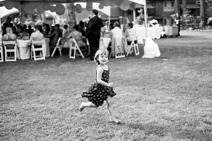 Child runs during the reception