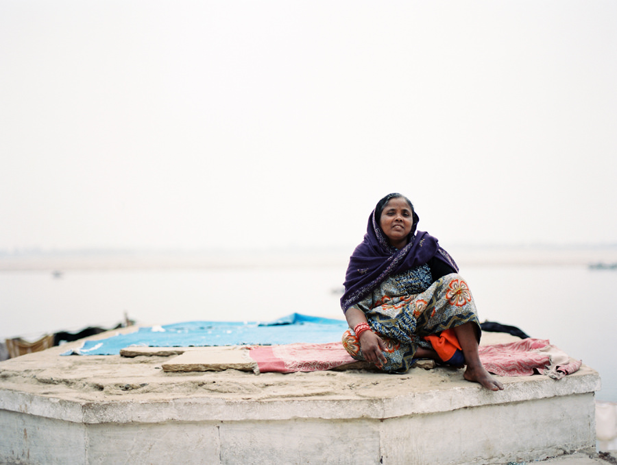 Lady on the riverbanks of the Ganges in Varanasi