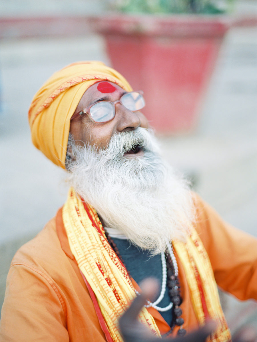 Laughing Sadhu on the ghats in Varanasi