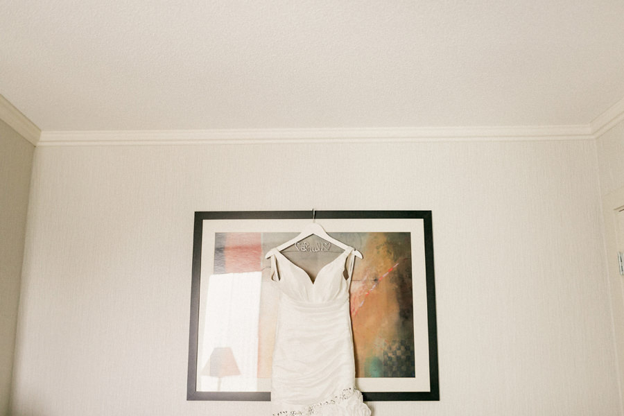 Wedding Dress hanging on picture frame