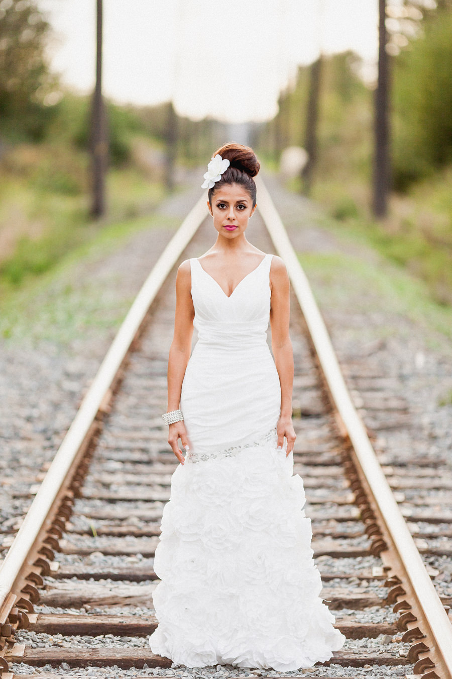 Riverway GolfCourse Bridal Portrait on train tracks