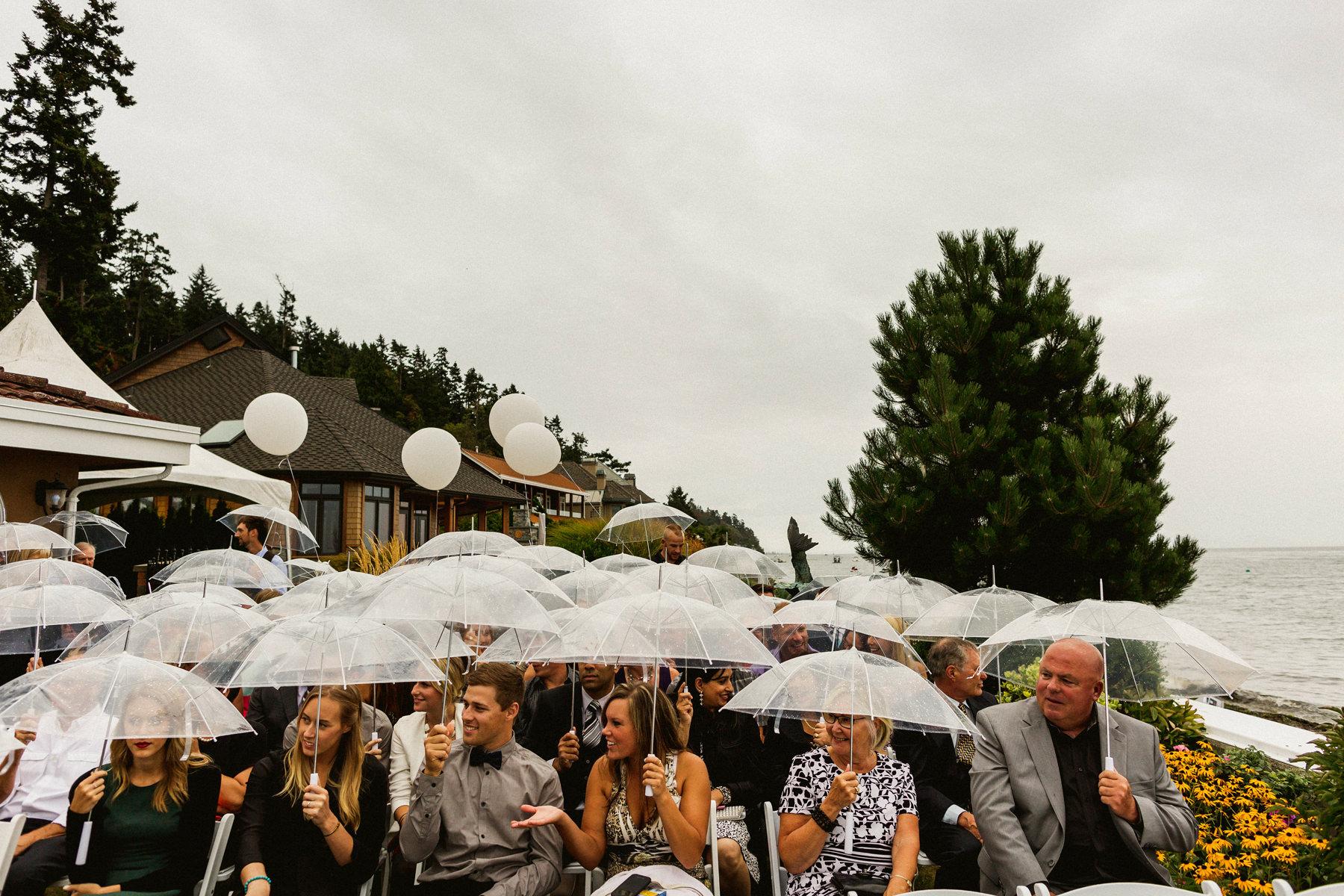 Umbrellas for Wedding in the Rain