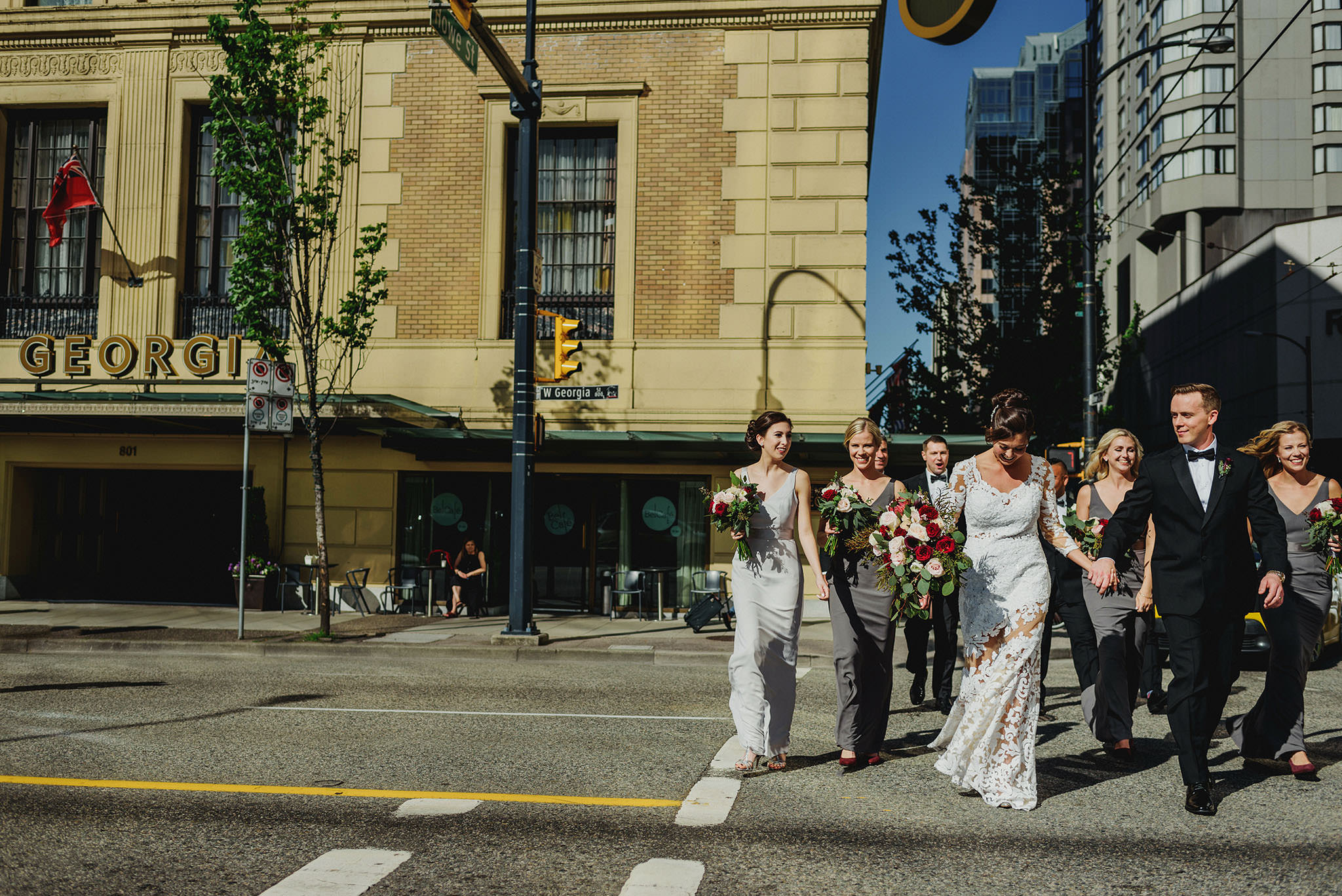 Wedding Party walking in Downtown Vancouver