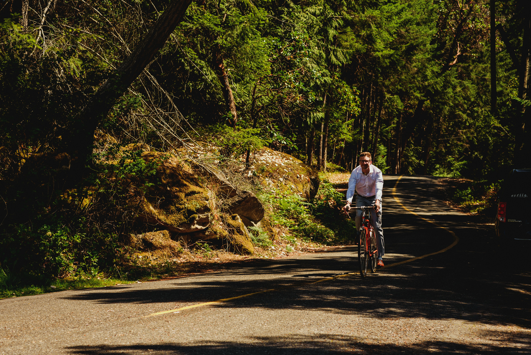 Groom Biking to First Look on Thetis Island