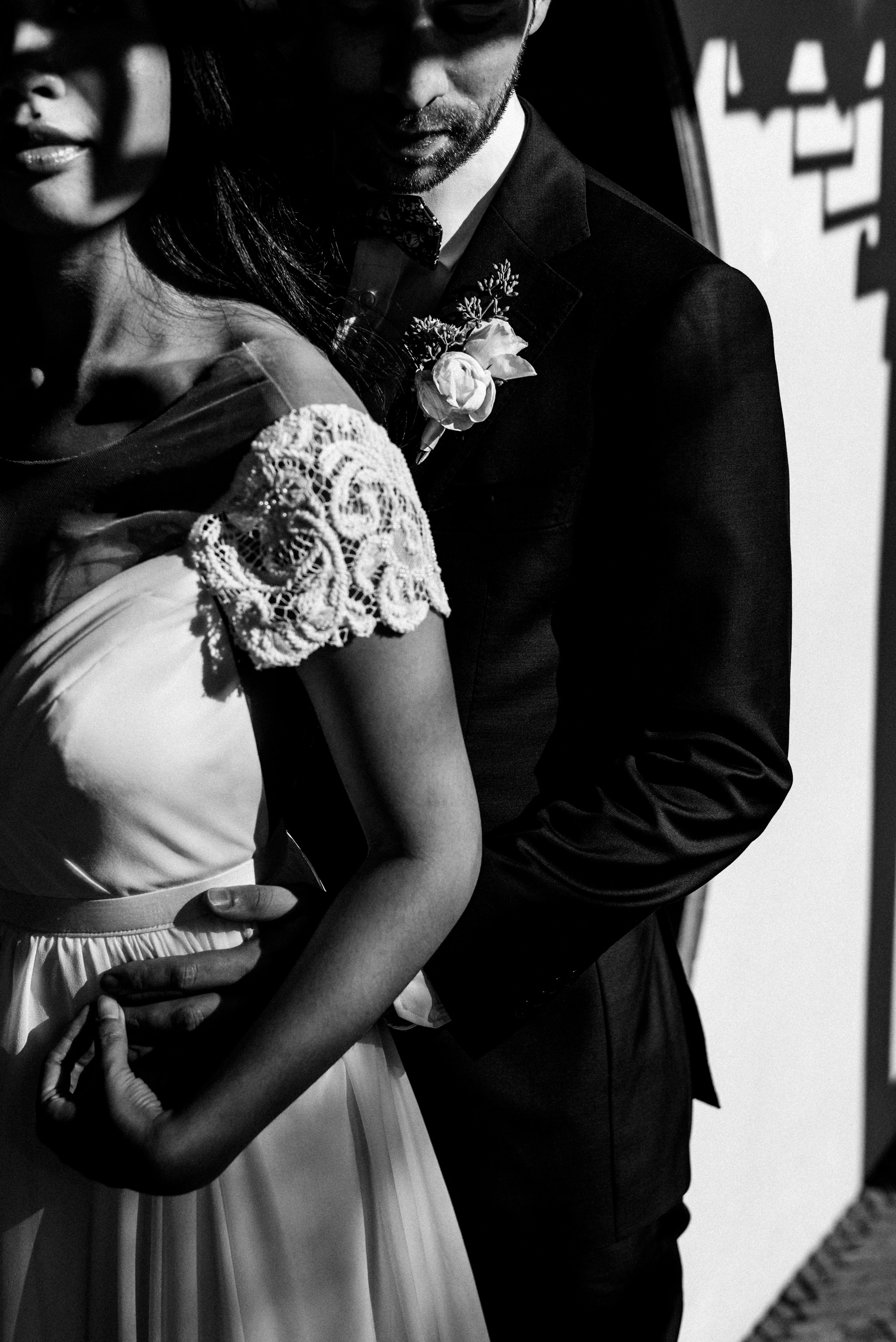 Dr. Sun Yat-Sen Classical Chinese Gardens Wedding Couple Black and White