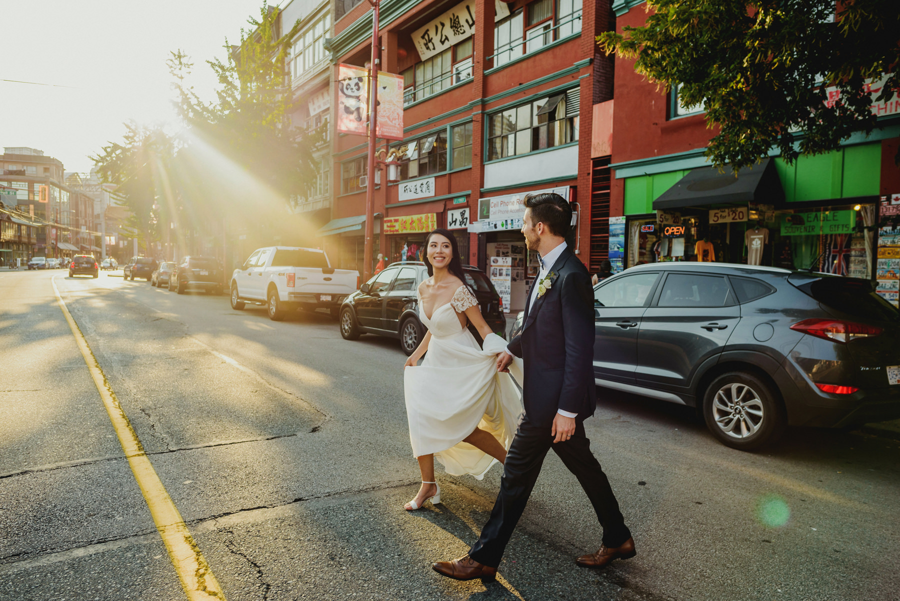 Bride and Groom in Chinatown Vancouver