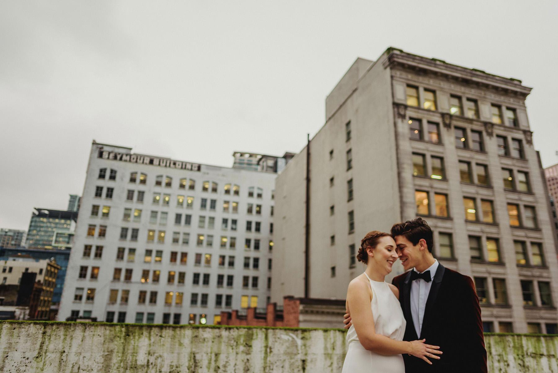 Bride Groom Rooftop Vancouver